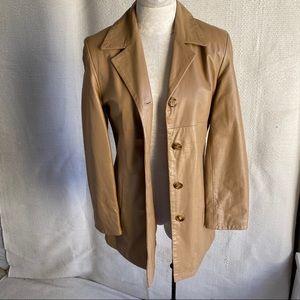 Vintage 70s S Italian Leather Hippy Coat Tan Brown